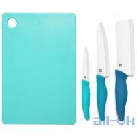 Набір ножів з 3 предметів + дошка для нарізання продуктів Xiaomi Hot Ceramic Knife + Chopping Board Set Blue HU0020
