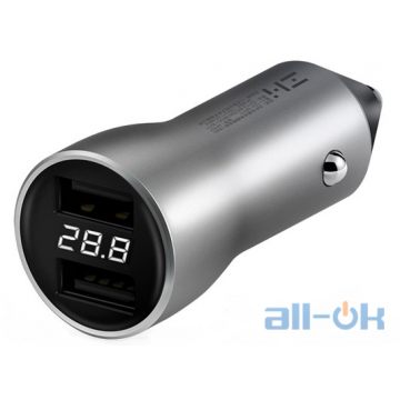 АЗУ Zmi Car Charger with Display Silver AP621