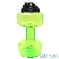 Спортивная бутылка гантеля для воды 2200 мл Green