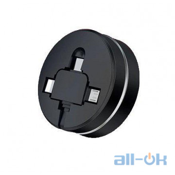 Кабель Cafele 3 в 1 Micro usb type C 8 Pin USB roulette Black