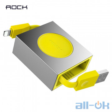 Кабель Lightning ROCK Lightning Retractable Charge & Sync Cable 0,8M Yellow (RCB0547-Yellow)