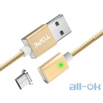 Магнитный кабель TOPK microUSB универсальный овал 1м Gold