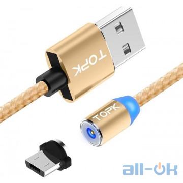 Магнитный кабель TOPK microUSB универсальный круглый 1м Gold