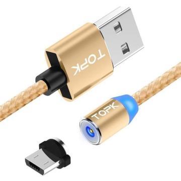 Магнитный кабель TOPK microUSB универсальный 1м Gold