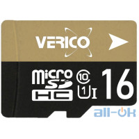 Карта памяти Verico MicroSDHC 16GB   Class 10 + SD Adapter