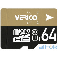 Карта памяти Verico MicroSDXC 64GB  Class 10 + SD Adapter