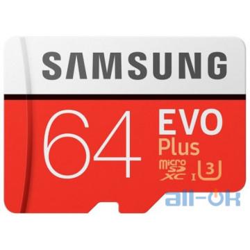 Карта памяти Samsung 64 GB microSDXC Class 10 UHS-I U3 EVO Plus