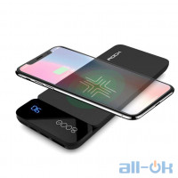 ROCK QI Wireless Charger Power Bank 8000mah with Digital Display gray