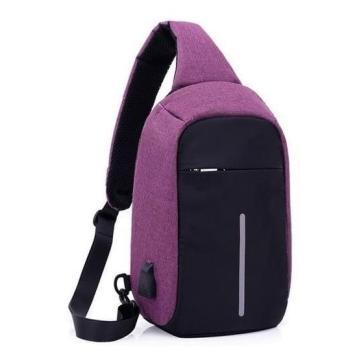 Рюкзак городской водонепроницаемый anti theft антивор с USB Purple