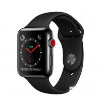 Apple Watch Series 3 GPS + Cellular 42mm Space Black Stainless Steel w. Black Sport B. (MQK92)